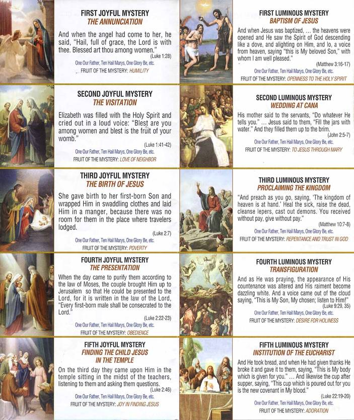 Unusual image with regard to mysteries of the rosary printable